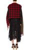 PREEN BY THORNTON BREGAZZI LUXURY DESIGNER WOOL BLEND OVERSIZED REVERSIBLE VERSATILE SCARF IN RED AND BLACK GINGHAM AND KHAKI FEATURING CLASSING FRINGING