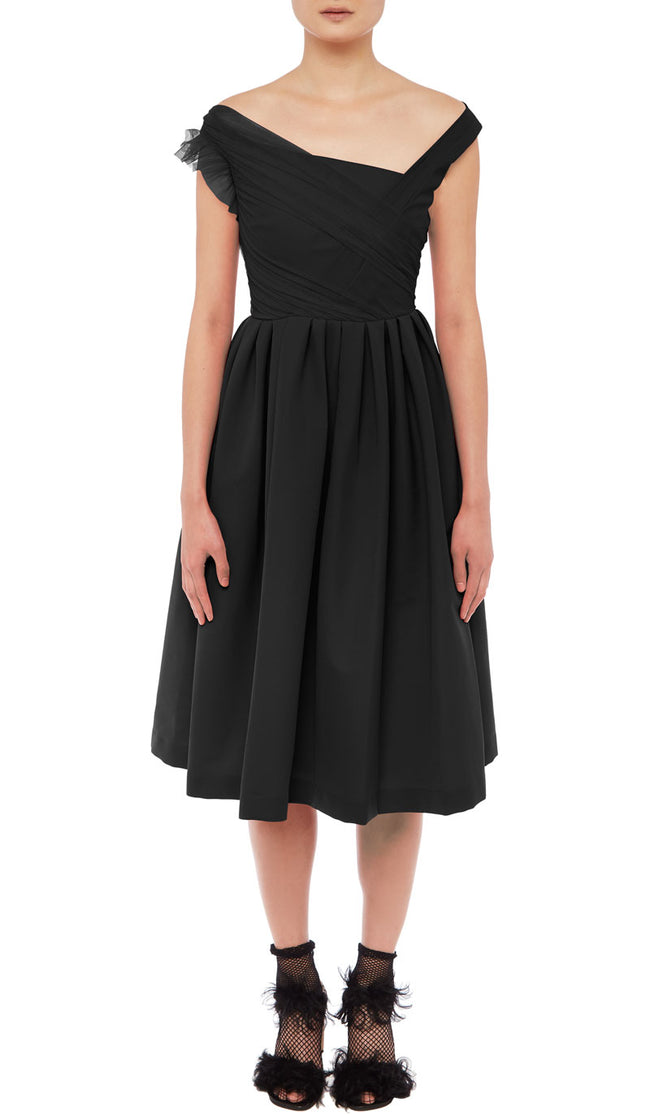 PREEN BY THORNTON BREGAZZI LUXURY DESIGNER TED BODY SCULPTING MATTE BLACK STRETCH SATIN MID LENGTH EVENT DRESS FEATURING LACE DETAIL, OFF SHOULDER ASYMMETRICAL NECKLINE AND FITTED WAIST