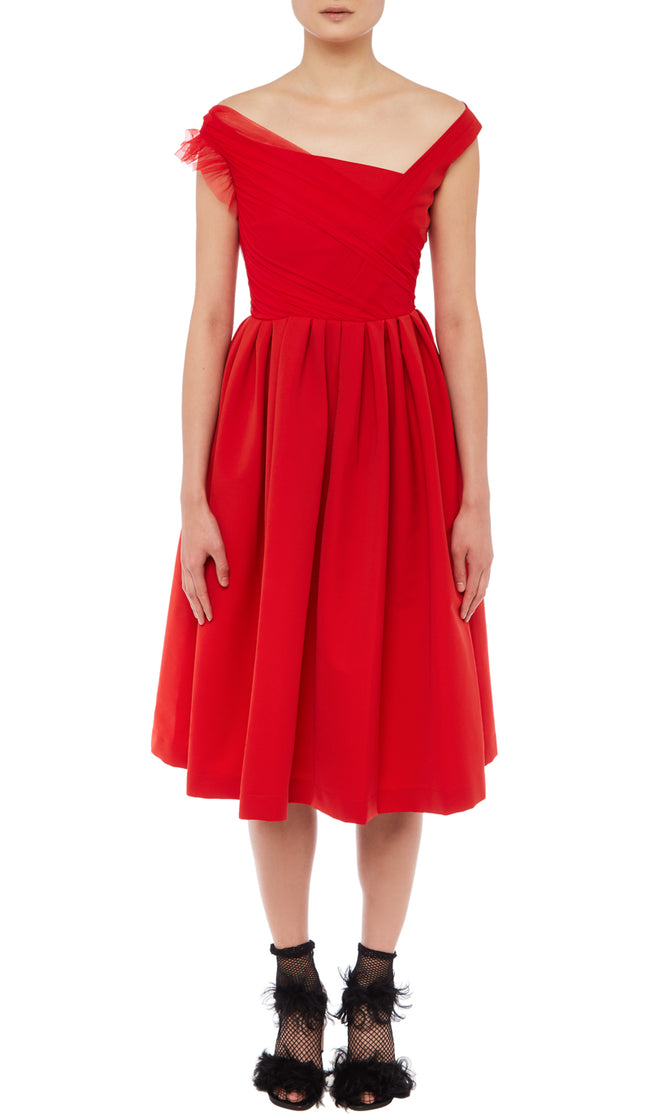PREEN BY THORNTON BREGAZZI LUXURY DESIGNER TED BODY SCULPTING MATTE RED STRETCH SATIN MID LENGTH EVENT DRESS FEATURING LACE DETAIL, OFF SHOULDER ASYMMETRICAL NECKLINE AND FITTED WAIST