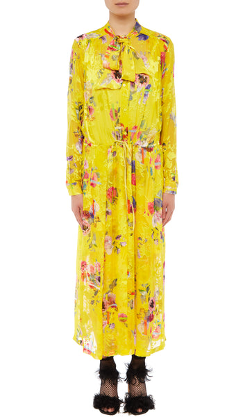 PREEN BY THORNTON BREGAZZI LUXURY DESIGNER YELLOW POSY PRINT SILK SATIN DEVORE FULL LENGTH DRESS WITH LONG SLEEVES, PUSSYBOW NECKTIE, BUTTON DOWN FRONT AND DRAWSTRING WAIST