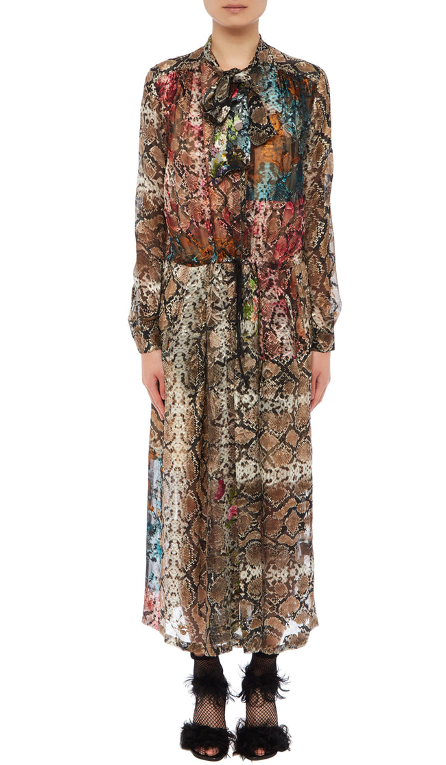 PREEN BY THORNTON BREGAZZI LUXURY DESIGNER SILK SATIN DEVORE FULL LENGTH FLORAL SNAKE PRINT DRESS WITH PUSSYBOW NECKTIE AND DRAW STRING WAIST