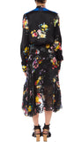 PREEN BY THORNTON BREGAZZI LUXURY DESIGNER SILK SATIN BLOUSE IN BLACK POSY PRINT FEATURING HIGH NECK, PUSSY BOY TIE AND FRILL DETAIL