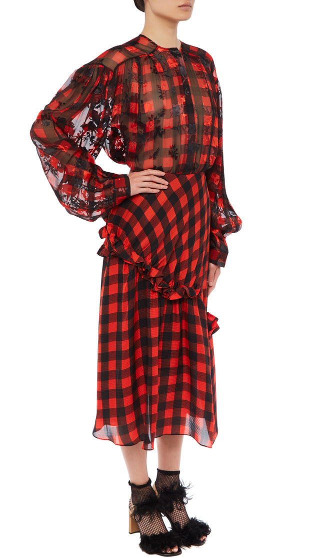 PREEN BY THORNTON BREGAZZI LUXURY DESIGNER SILK SATIN DEVORE BLOUSE IN SHEER RED AND BLACK GINGHAM PRINT WITH ROUND NECKLINE AND OVERSIZED SLEEVES