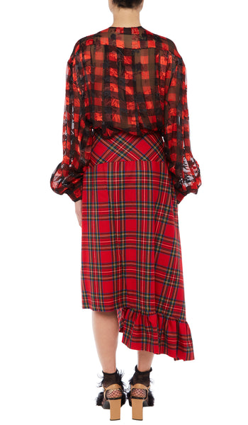 PREEN BY THORNTON BREGAZZI LUXURY DESIGNER FINE WOOL RED CHECK SKIRT