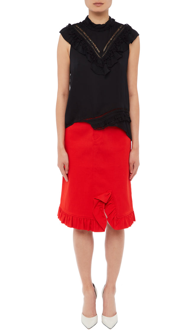 PREEN LINE LUXURY DESIGNER SLEEVELESS BLACK RUFFLED BREE TOP WITH HIGH NECKLINE, FRILL TRIMMED BIB AND ASYMMETRIC HEMLINE ON SALE