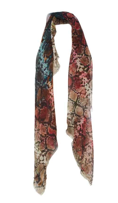 PREEN BY THORNTON BREGAZZI LUXURY DESIGNER SILK AND MODAL BLEND OVERSIZED SCARF IN FLORAL SNAKE PRINT