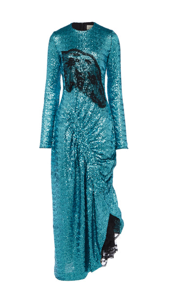 PREEN BY THORNTON BREGAZZI LUXURY DESIGNER TEAL, FULL LENGTH SEQUIN OCCASION DRESS WITH DELICATE BLACK LACE DETAIL ON BUST AND TRIM