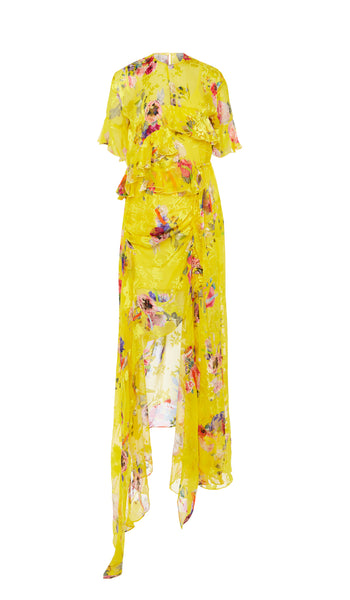 PREEN BY THORNTON BREGAZZI LUXURY DESIGNER YELLOW FLORAL POSY SILK SATIN DEVORE SHORT SLEEVE DRESS WITH FRILL DETAIL AND DRAMATIC SPILT