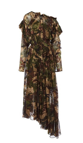 PREEN BY THORNTON BREGAZZI LUXURY DESIGNER CAMOUFLAGE PRINT SILK SATIN DEVORE ASYMMETRIC OFF SHOULDER DRESS WITH GATHERED WAIST AND FLOATING SKIRT