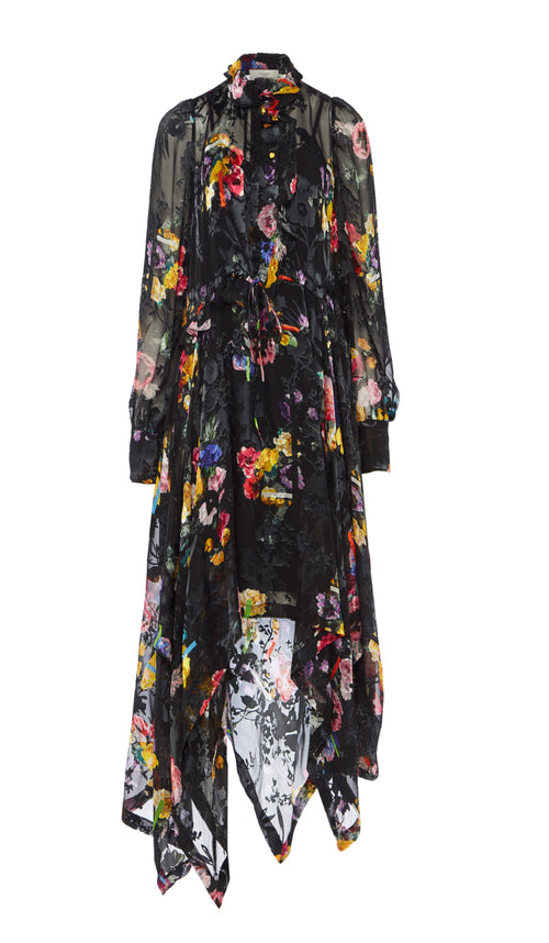 PREEN BY THORNTON BREGAZZI LUXURY DESIGNER SILK SATIN DEVORE FLORAL PRINT DRAWSTRING WAIST OCCASION DRESS