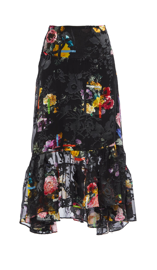 PREEN BY THORNTON BREGAZZI LUXURY DESIGNER SILK SATIN DEVORE FLORAL BLACK POSY PRINT FULL LENGTH SKIRT WITH FRILL TRIM