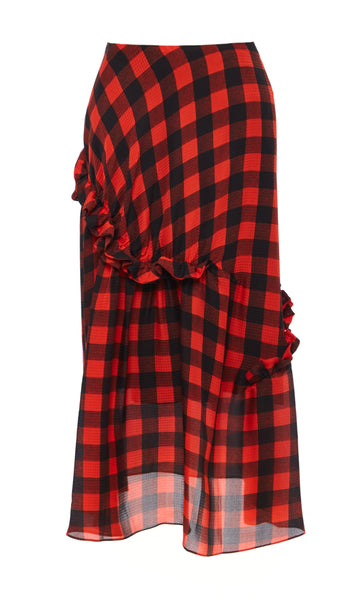 PREEN BY THORNTON BREGAZZI LUXURY DESIGNER HAMMERED SILK RED AND BLACK CHECK SKIRT