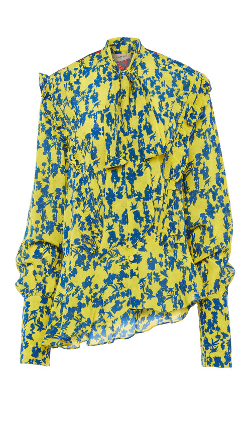 PREEN LINE YELLOW AND BLUE FLORAL DESIGNER PUSSY BOW BLOUSE