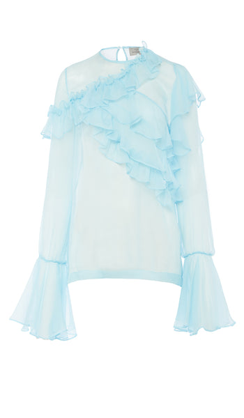 PREEN BY THORNTON BREGAZZI LUXURY DESIGNER SHEER PALE BLUE MARIKA BLOUSE WITH LONG FLARED SLEEVES AND SOFT RUFFLE DETAILING ON SALE