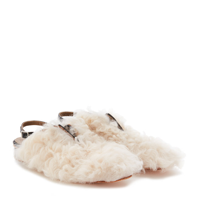 PREEN BY THORNTON BREGAZZI LUXURY DESIGNER TIGRADO SHEARLING AND LEATHER MODERN FURRY BROGUE WITH CRYSTAL BUCKLE FASTENING