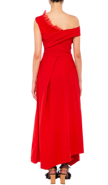 PREEN BY THORNTON BREGAZZI LUXURY DESIGNER TED BODY SCULPTING MATTE RED STRETCH SATIN EVENT DRESS WITH FITTED WAIST AND OFF SHOULDER NECKLINE