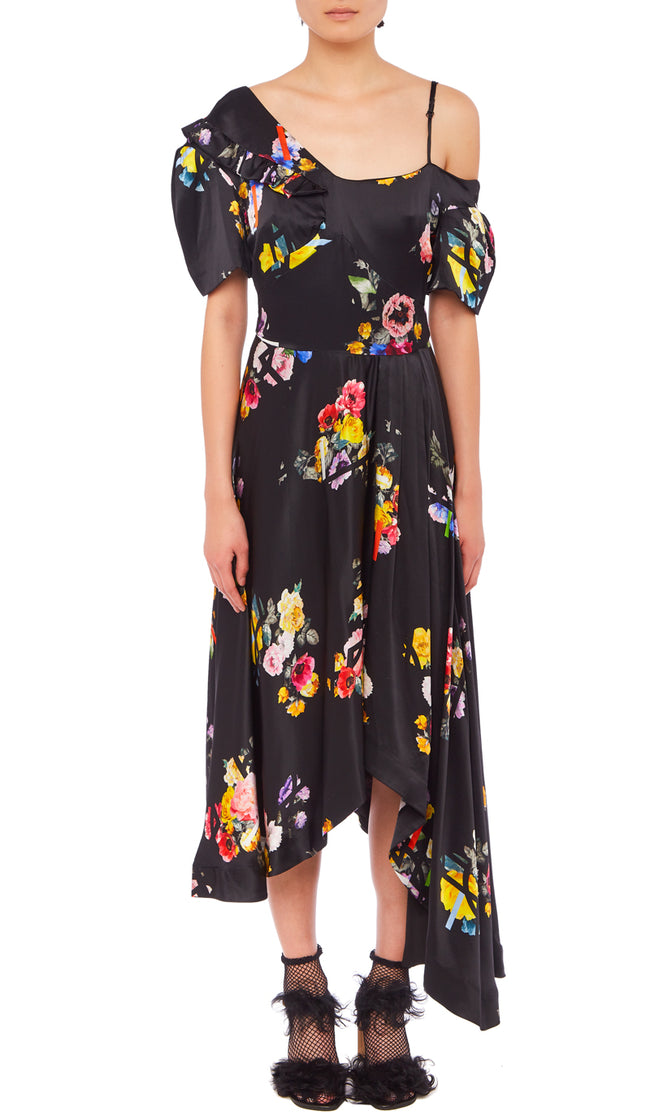 PREEN BY THORNTON BREGAZZI LUXURY DESIGNER OCCASION WEAR SILK SATIN OFF SHOULDER MIDI DRESS WITH ASYMMETRIC SKIRT IN BLACK FLORAL POSY PRINT
