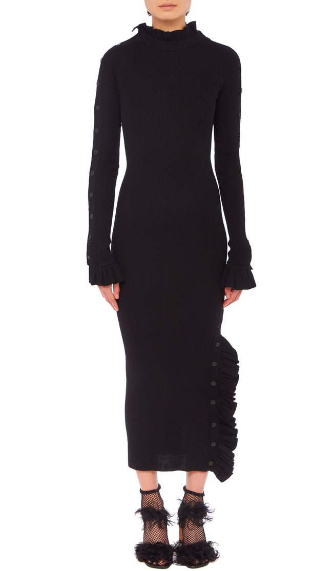 PREEN BY THORNTON BREGAZZI LUXURY DESIGNER BLACK WOOL HIGH NECK LONG SLEEVED JUMPER DRESS WITH FRILL DETAIL