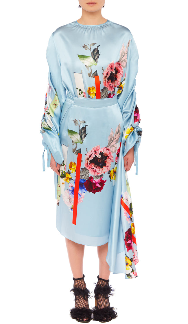 PREEN BY THORNTON BREGAZZI LUXURY DESIGNER SILK SATIN OCCASION WRAP SKIRT IN DUCK EGG BLUE FLORAL