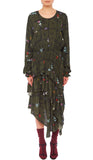 PREEN LINE LUXURY DESIGNER LONG SLEEVE KHAKI FLORAL PRINT SINEAD DRESS FEATURING TIERED ASYMMETRIC SKIRT AND ELASTICATED CUFFS