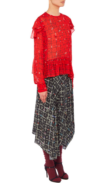 PREEN LINE LUXURY DESIGNER RED FLORAL VINE PRINT ASYMMETRIC HEM BRYONI TOP WITH LONG SLEEVES AND FRILL DETAILING