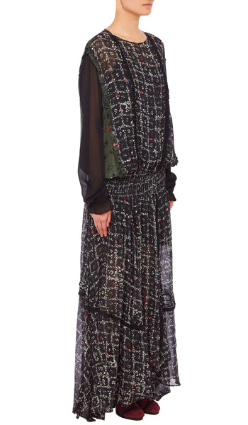 PREEN LINE LUXURY DESIGNER SIGNATURE BLACK FLORAL VINE PRINT FULL LENGTH ANFISA DRESS WITH DROP WAIST AND LONG SLEEVES
