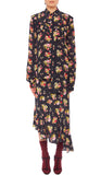 PREEN LINE LUXURY DESIGNER BUTTON DOWN LONG SLEEVED STASSIE BLOUSE IN BOTANICAL ARRAY PRINT WITH ASYMMETRIC HEMLINE