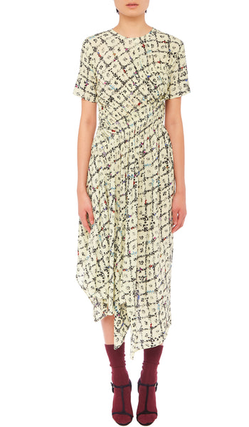 PREEN LINE LUXURY DESIGNER SHORT SLEEVED MID LENGTH KEZIAH DRESS IN IVORY FLORAL VINE PRINT FEATURING GATHERED WAIST AND ASYMMETRIC SKIRT