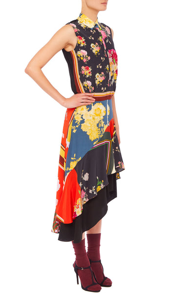PREEN LINE LUXURY DESIGNER SLEEVELESS SHIRTDRESS IN FLORAL FOULARD PRINT FEATURING TIERED SKIRT WITH ASYMMETRIC HEM
