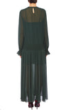 PREEN LINE LUXURY DESIGNER BOTTLE GREEN FULL LENGTH SALOME DRESS FEATURING ELASTICATED DROP WAIST, LONG SLEEVES AND FULL SKIRT