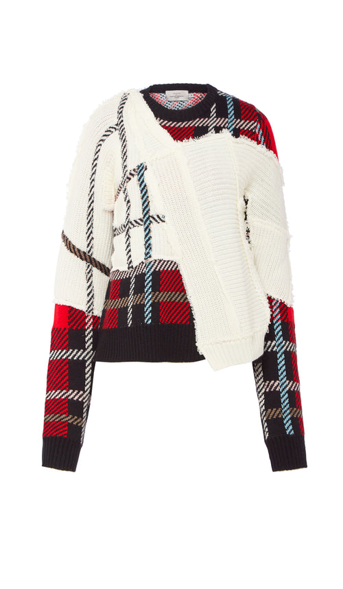 PREEN BY THORNTON BREGAZZI LUXURY DESIGNER MOHAIR BLEND TARTAN AND CREAM PATCHWORK KNIT WITH RAW EDGE DETAIL