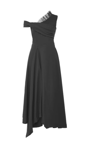 PREEN BY THORNTON BREGAZZI LUXURY DESIGNER TED BODY SCULPTING MATTE BLACK STRETCH SATIN EVENT DRESS WITH FITTED WAIST AND OFF SHOULDER NECKLINE
