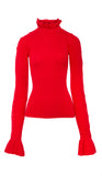 PREEN BY THORNTON BREGAZZI LUXURY DESIGNER 100% WOOL RED HIGH NECK JUMPER WITH FRILL DETAIL
