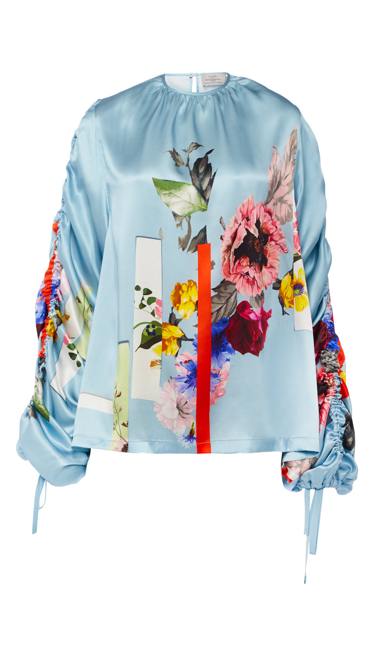 PREEN BY THORNTON BREGAZZI LUXURY DESIGNER DUCK EGG BLUE FLORAL SILK SATIN BLOUSE FEATURING THREE QUARTER LENGTH OVERSIZED SLEEVES WITH ADJUSTABLE GATHERING