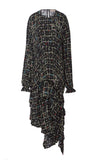 PREEN LINE LUXURY DESIGNER LONG SLEEVE BLACK FLORAL PRINT SINEAD DRESS FEATURING TIERED ASYMMETRIC SKIRT AND ELASTICATED CUFFS