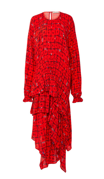 PREEN LINE LUXURY DESIGNER LONG SLEEVE RED FLORAL PRINT SINEAD DRESS FEATURING TIERED ASYMMETRIC SKIRT AND ELASTICATED CUFFS