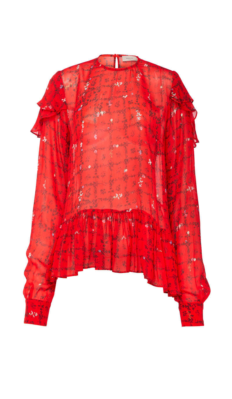Top Luxury And Line Floral Long Print Sleeves With Bryoni Designer Vine Asymmetric Hem Red Preen SfqUwwv
