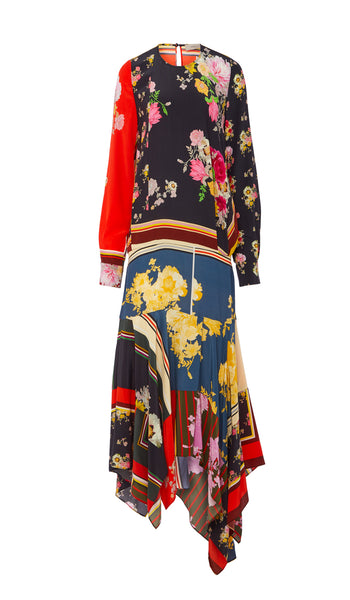 PREEN LINE LUXURY DESIGNER LONG SLEEVED FULL LENGTH DRESS IN FLORAL FOULARD PRINT FEATURING DROP WAIST