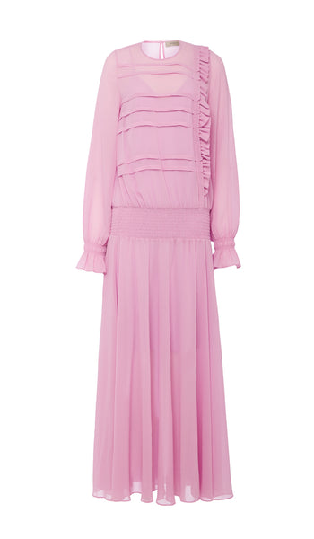 PREEN LINE LUXURY DESIGNER PINK FULL LENGTH SALOME DRESS FEATURING ELASTICATED DROP WAIST, LONG SLEEVES AND FULL SKIRT