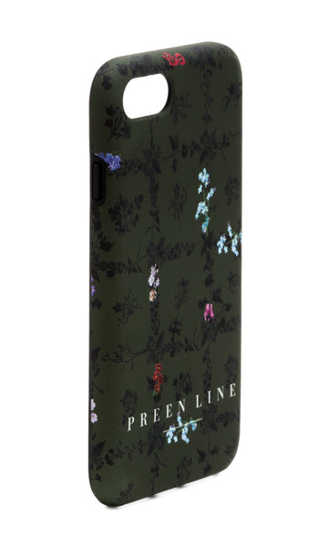PREEN LINE LUXURY DESIGNER IPHONE CASE IN SIGNATURE KHAKI FLORAL PRINT DESGIN