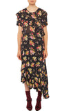 PREEN LINE LUXURY DESIGNER SHORT SLEEVED GIANA TOP IN BOTANICAL ARRAY PRINT WITH FRILL DETAILING AND ASYMMETRIC HEMLINE