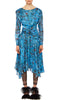 PREEN BY THORNTON BREGAZZI LUXURY DESIGNER FLOATY MID LENGTH KELSEY DRESS IN CORNFLOWER BLUE PLASTIC FLORAL PRINT WITH LONG SLEEVES, RUCHED WAIST AND ASYMMETRIC SKIRT