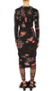 PREEN BY THORNTON BREGAZZI LUXURY DESIGNER FORM FITTING RENE DRESS IN BLACK FLORAL GRID PPRINT WITH LONG SLEEVES, HIGH NECK AND RUCHED DETAILS