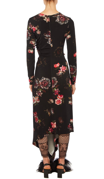 PREEN BY THORNTON BREGAZZI LUXURY DESIGNER STRETCH CREPE FLORAL GRID PRINT FULL LENGTH NITA DRESS WITH LONG SLEEVES AND RUCHING ON THE TORSO AND HIP