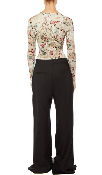 PREEN BY THORNTON BREGAZZI LUXURY DESIGNER LONG SLEEVE STRETCH MARCIA TOP IN NUDE PLASTIC FLORAL WITH SLIT DETAILS AT ELBOWS