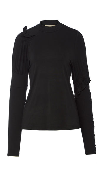 PREEN LINE LUXURY DESIGNER BLACK STRETCH CREPE LONG SLEEVE HIGH NECK FITTED BONITA TO WITH FRILL AND RUCHE DETAILS