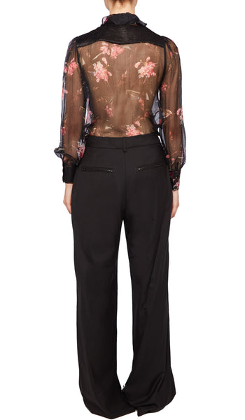 PREEN BY THORNTON BREGAZZI LUXURY DESIGNER SHEER BLACK PLASTIC FLORAL CHIFFON SHIRT WITH PIE CRUST COLLAR AND FITTED CUFFSPREEN BY THORNTON BREGAZZI LUXURY DESIGNER SHEER BLACK PLASTIC FLORAL CHIFFON SHIRT WITH PIE CRUST COLLAR AND FITTED CUFFS