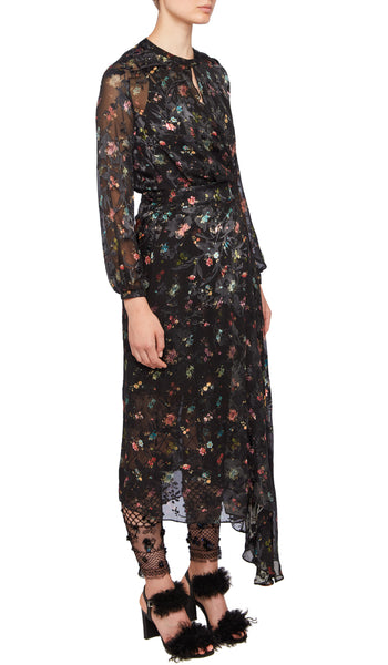 PREEN BY THORNTON BREGAZZI LUXURY DESIGNER FULL LENGTH BLACK WOVEN FLORAL PRINT OLGA DRESS WITH FITTED WAIST AND HIGH NECKLINE