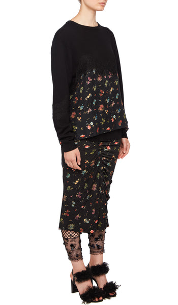 AW18 BONNIE SKIRT BLACK WOVEN FLORAL