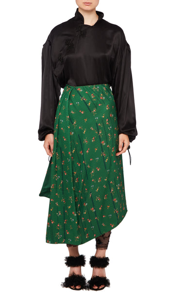 PREEN BY THORNTON BREGAZZI LUXURY DESIGNER MID LENGTH GREEN ETCHED FLORAL MATILDA SKIRT WITH HIGH WASIT AND ASYMMETRIC HEMLINE
